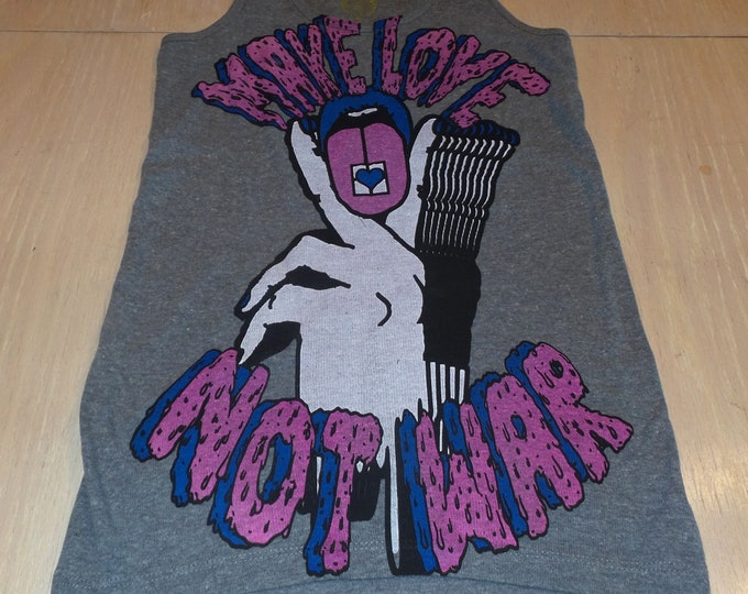 Women's Tank Top - Make Love Not War (Pink/Blue on Gray)