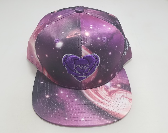 Snapback Flat-Brim Hat - Heart Rose (One-of-a-kind)