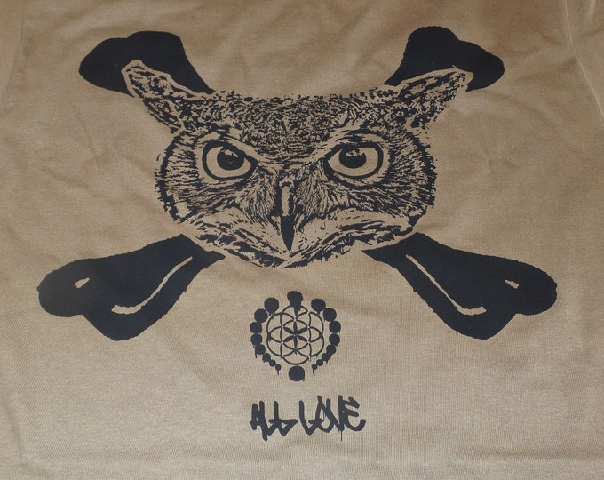 T-Shirt - Owl Crossbones (Black on Tan)