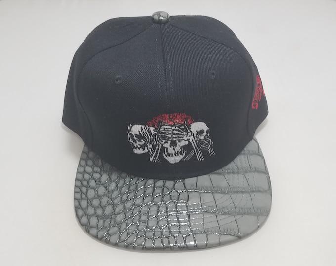 Snapback Flat-Brim Hat - No Evil (One of a kind)