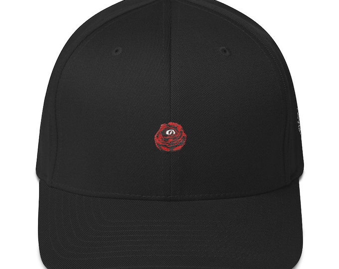 Flex-Fit Bent-Brim Hat - Rose Eye (Red on Black)