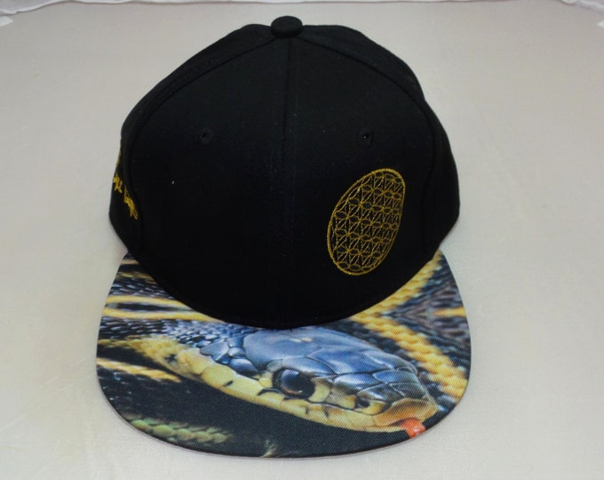 Buckle-back Flat-Brim Hat - Flower of Life (One-of-a-kind)