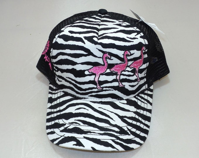 Bent-Brim Snapback Hat - Flamingos (One-of-a-kind)