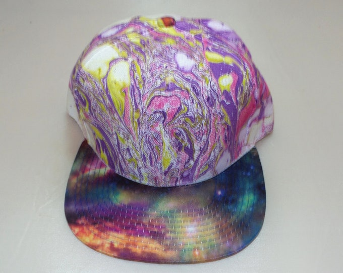 Snapback Flat-Brim Hat - Marbled (One-of-a-kind)