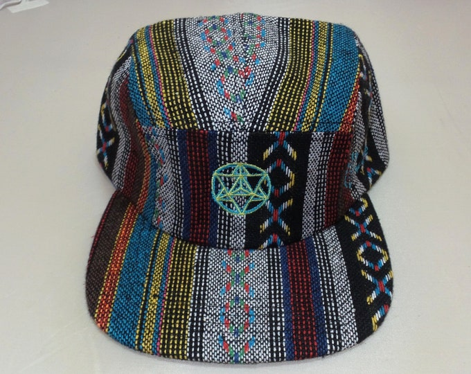 Strap-back Flat-Brim Hat - Star Tetrahedron (One-of-a-kind)