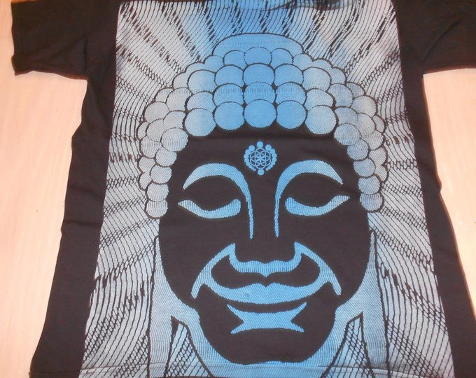 T-Shirt - Optical Buddha (Yellow/Blue Fade on Black)