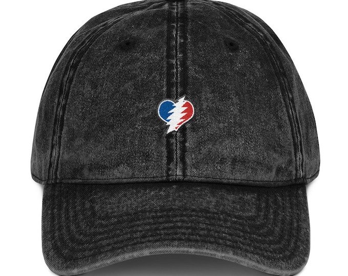 Buckle-Back Bent-Brim Dad Hat - 13 Point Bolt Heart