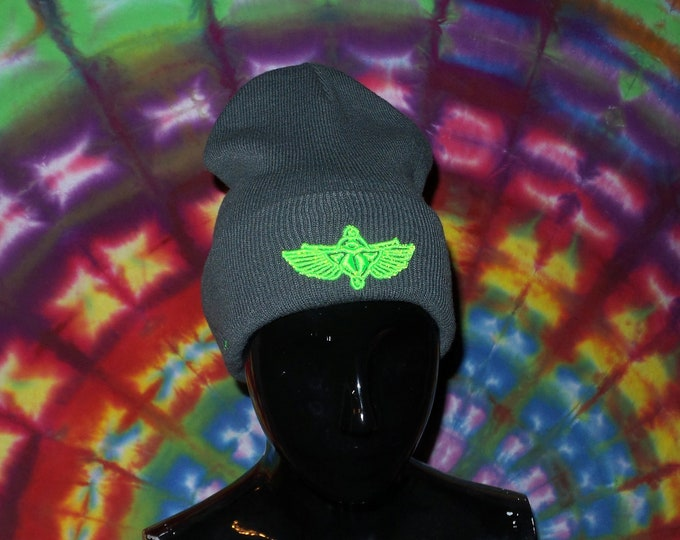 Sock Hat - Scarab (Neon Green on Charcoal)