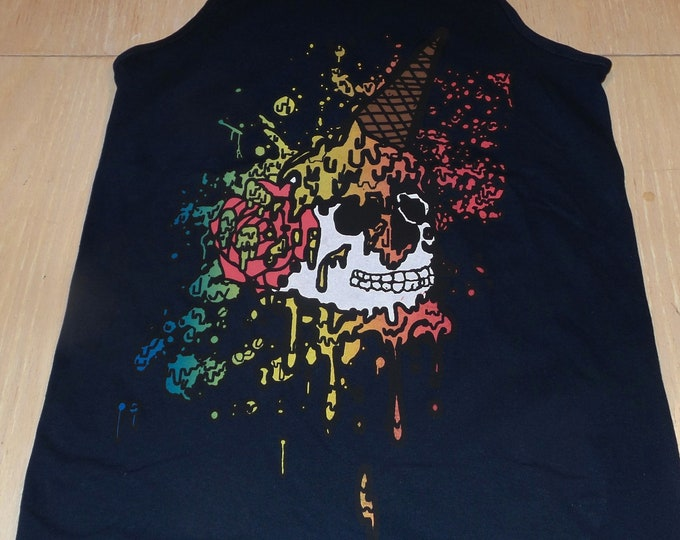 Men's Tank Top -Ice Cream Skull (on Navy)