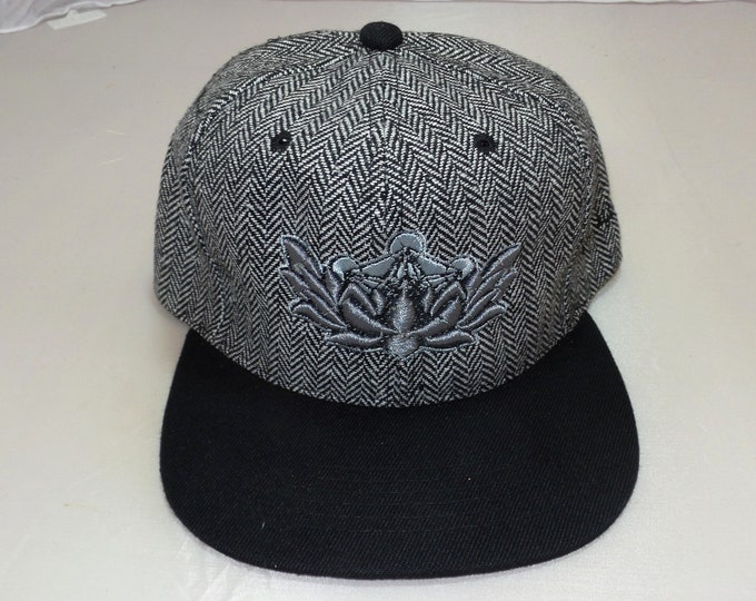 Snapback Flat-Brim Hat - Metatron's Lotus (One-of-a-kind)