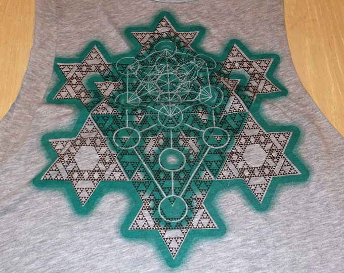 Women's Loose Crop Top - Merkaba Fractal (Green/Brown on Gray)