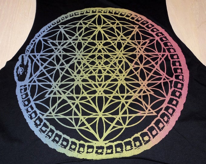 Women's Loose Crop Top - Seal of Ouroboros (Rainbow on Black)