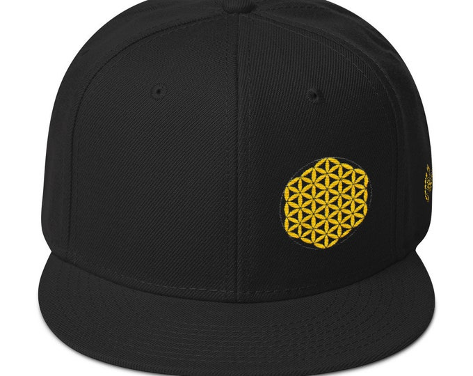 Snapback Flat-Brim Hat - Flower of Life