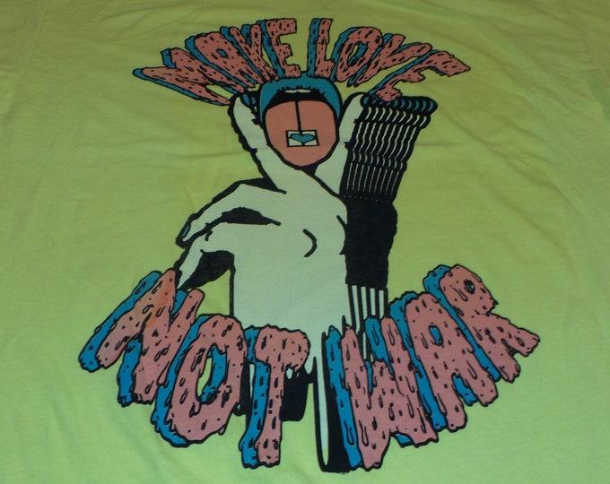 T-Shirt - Make Love Not War (Pink/Blue on Neon Yellow)