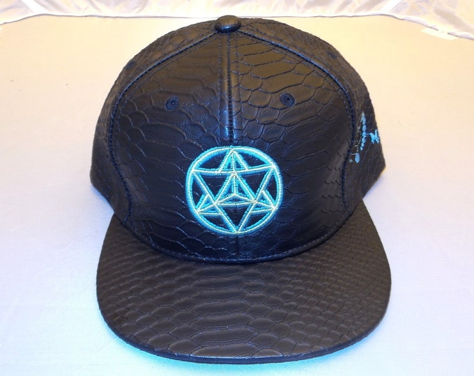 Buckle-back Flat-Brim Hat - Star Tetrahedron (One-of-a-kind)
