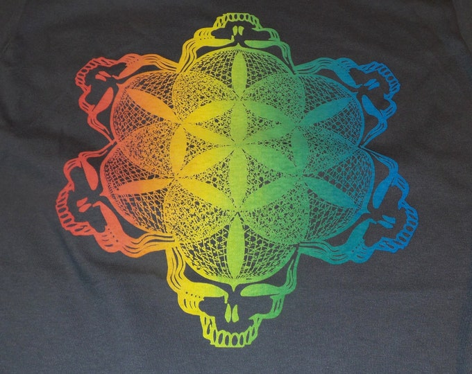 T-Shirt - Stealie of Life (Rainbow on Gray)