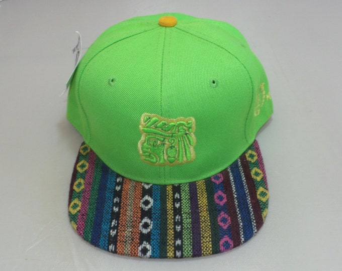 Snapback Flat-Brim Hat - Mayan Face (One of a kind)