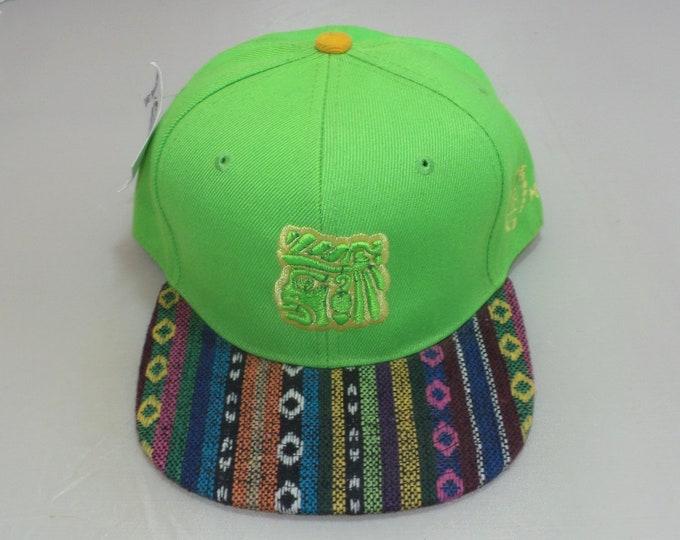Snapback Flat-Brim Hat - Mayan Face (One of a kind)