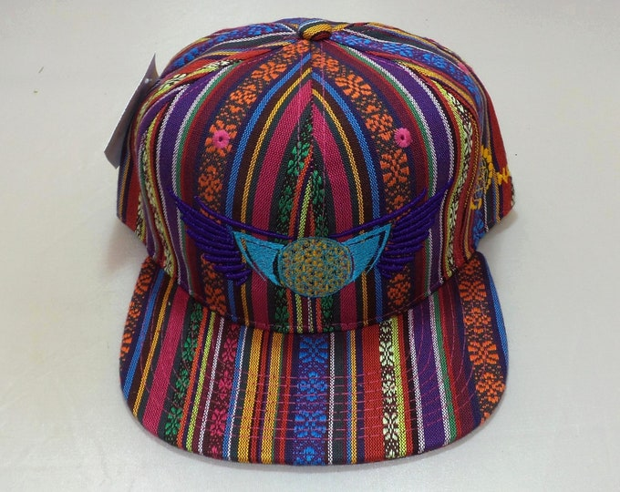 Snapback Flat-Brim Hat - Winged Flower of Life (One-of-a-kind)