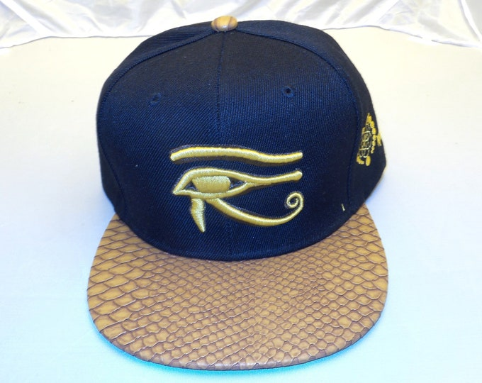 Buckle-back Flat-Brim Hat - 3D Eye of Horus (One-of-a-kind)