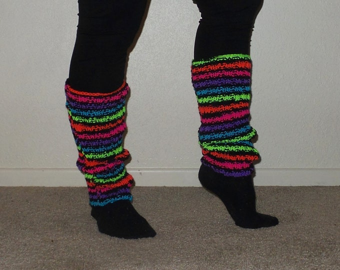Legwarmers - Fluorescent Rainbow (One-of-a-kind)