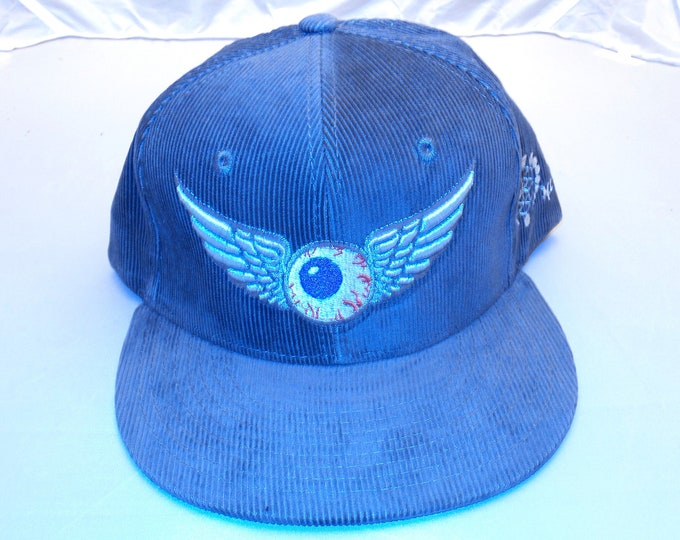 Snap-back Flat-Brim Hat - Flying Eyeball (One-of-a-kind)