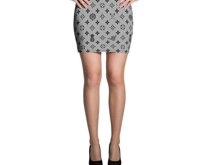 Mini Skirt - La Vida Piña x LVSD (Black & Gray)