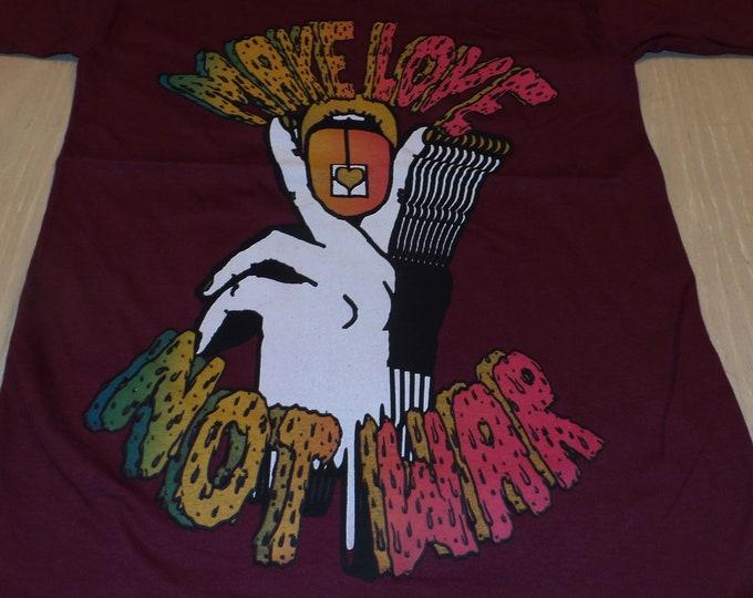 T-Shirt - Make Love Not War (Rainbow/White on Maroon)