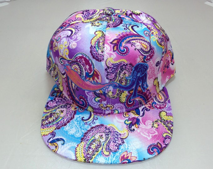 Snapback Flat-Brim Hat - Elephant Rainbows (One-of-a-kind)