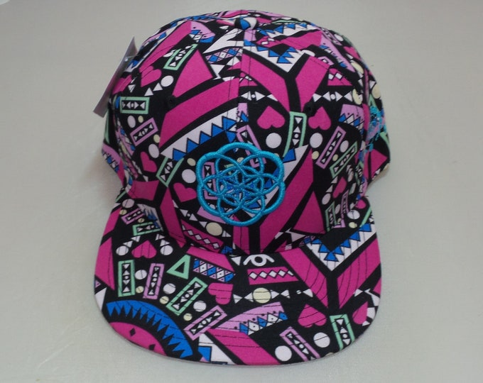 Snapback Flat-Brim Hat - Seed Of Creation (One-of-a-kind)
