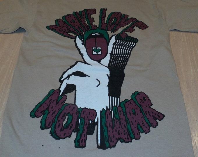 T-Shirt - Make Love Not War (Maroon/Green on Sand)