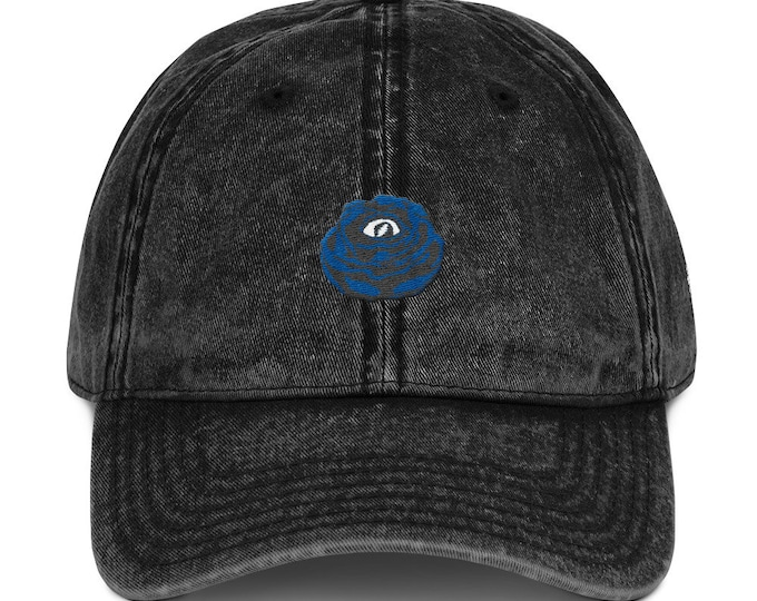 Buckle-Back Bent-Brim Dad Hat - Rose Eye (Gray on Black)