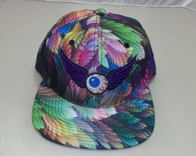 Snapback Flat-Brim Hat - Flower of Life (One-of-a-kind)