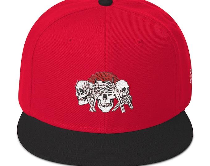 Snapback Flat-Brim Hat - No Evil