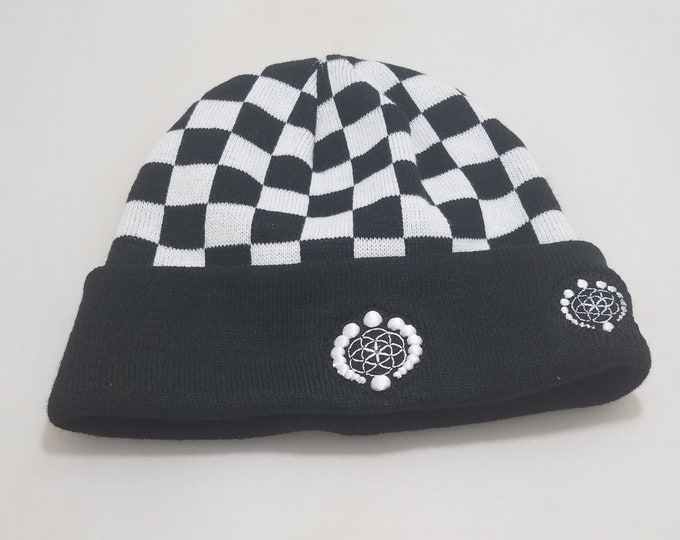 Sock Hat - Logo (White on Checkers)
