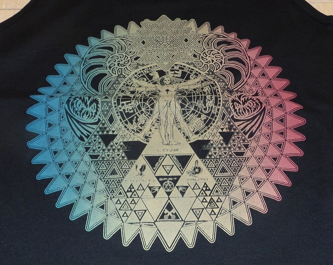 Women's Tank Top - Fractal of Self (Rainbow Fade on Black)