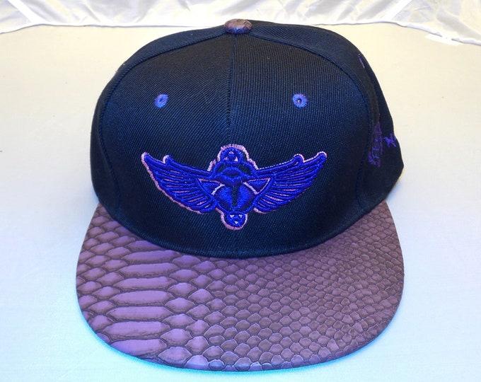 Buckle-back Flat-Brim Hat - Scarab (One-of-a-kind)