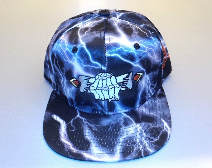 Snapback Flat-Brim Hat - Burning The Candle (One-of-a-kind)