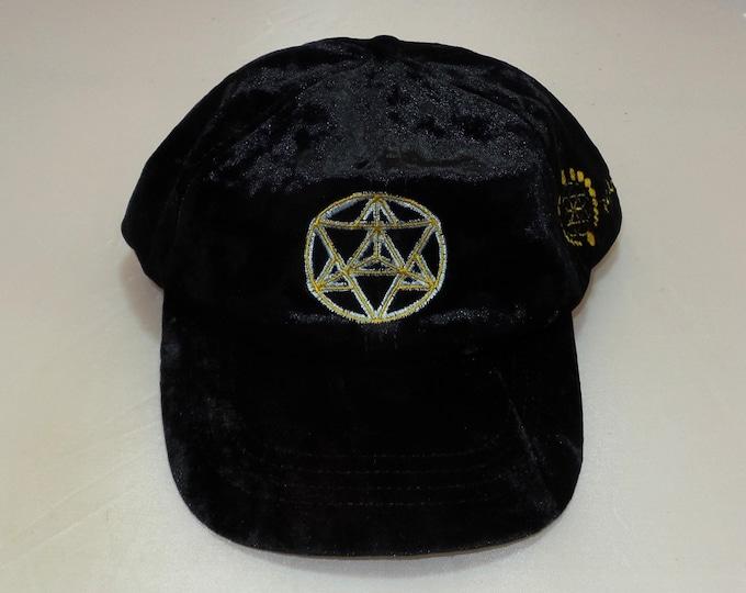 Strap-back Bent-Brim Hat - Star Tetrahedron (One-of-a-kind)
