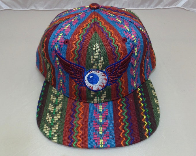 Snap-back Flat-Brim Hat - Flying Eyeball (One-of-a-kind)