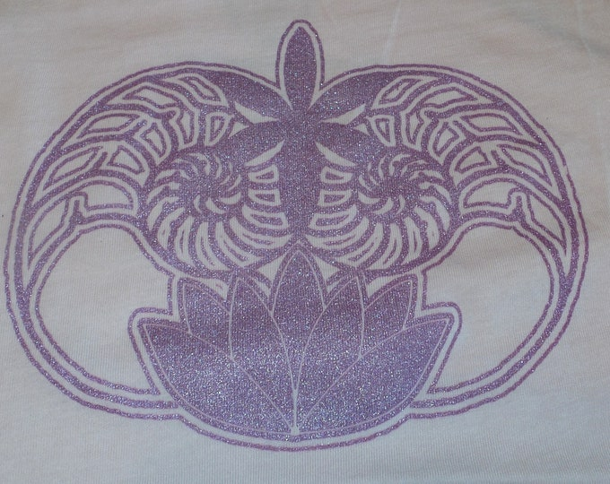 Women's Tank Top - Ammonite Lotus (Purple on Peach)