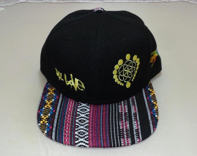 Snapback Flat-Brim Hat - All Love Lizard (One-of-a-kind)