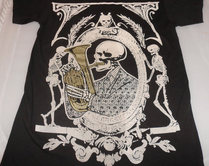 T-Shirt - Skeleton Funk (White/Gold on Black)