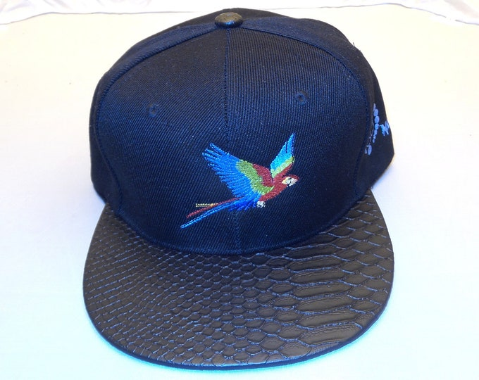 Buckle-back Flat-Brim Hat - Parrot (One-of-a-kind)