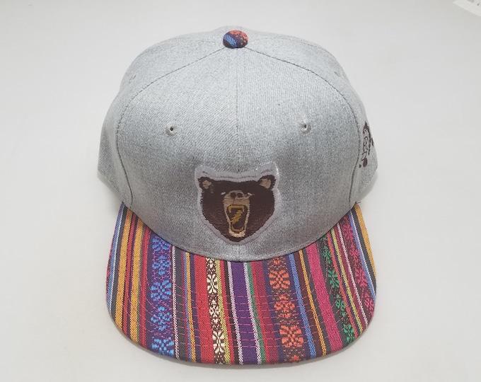 Snapback Flat-Brim Hat - Bear (One-of-a-kind)