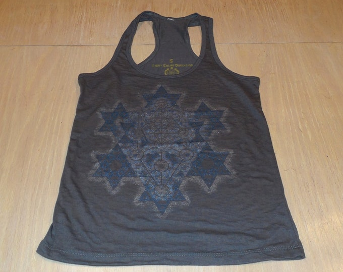 Women's Tank Top - Merkaba Fractal (Blue and Silver on Gray Burnout)