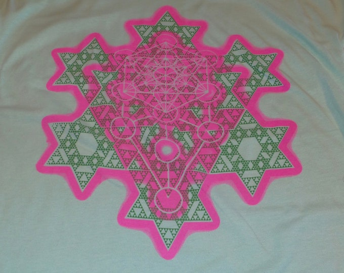 Women's Doleman Sleeve T-Shirt - Merkaba Fractal (Pink/Green on Mint)