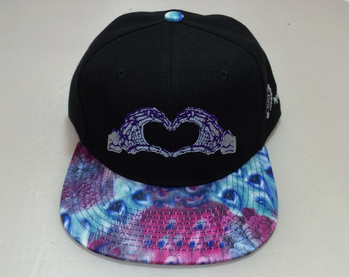 Snapback Flat-Brim Hat - Skeleton Hands (One-of-a-kind)