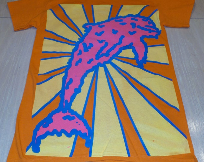 T-Shirt - Melty Dolphin (Blue/Pink on Orange)