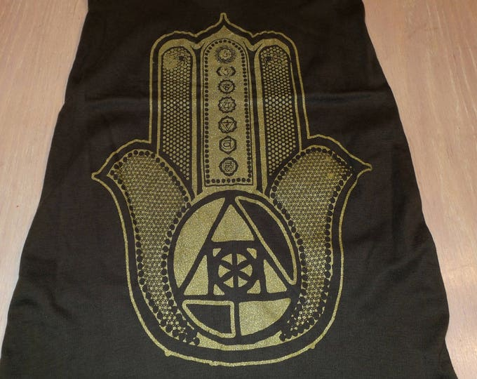 Women's Tank Top - Hamsa (Gold on Brown)